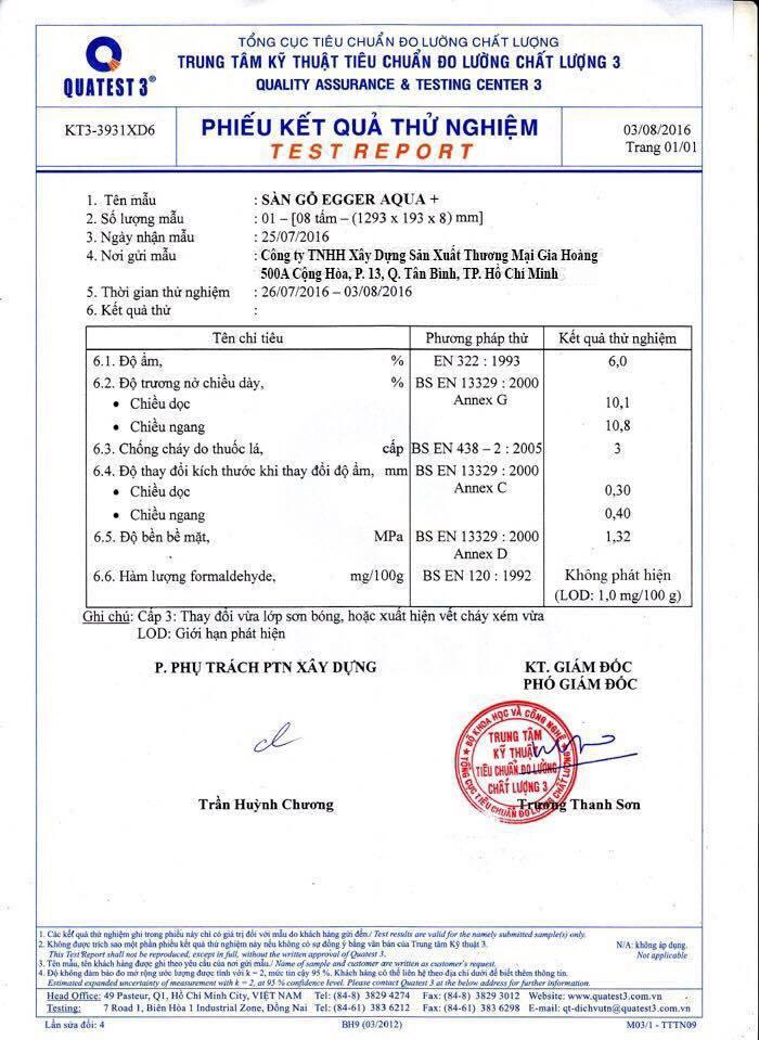 Chứng chỉ đo lượng tiêu chuẩn chất lượng sàn gỗ Egger tại Việt Nam