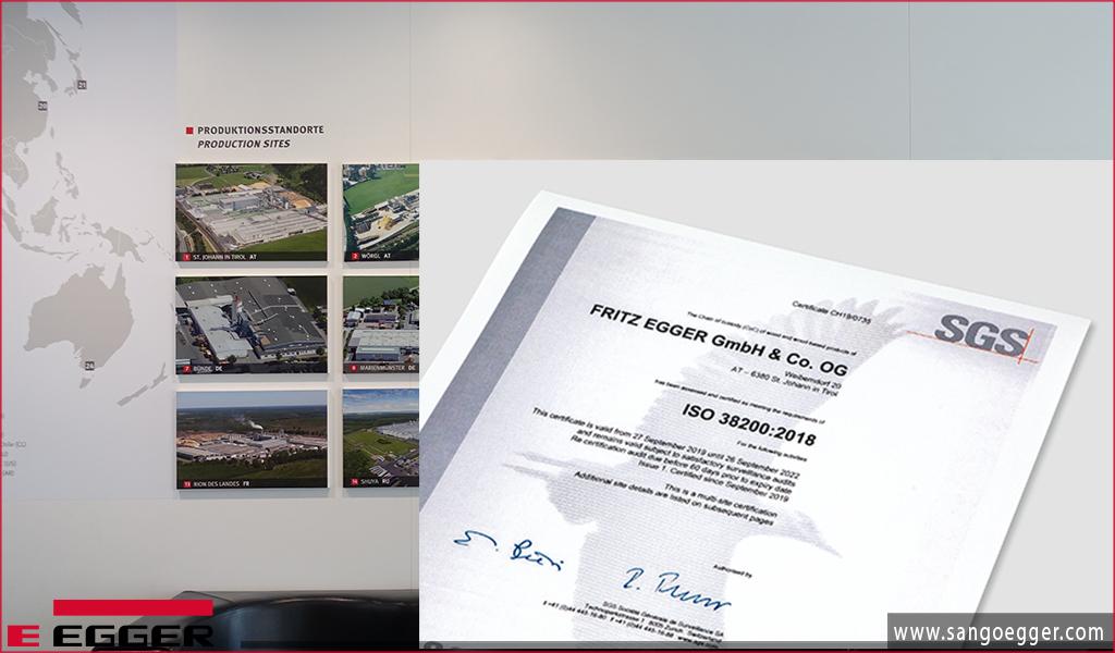Chứng chỉ ISO 38200 cấp cho tập đoàn Egger