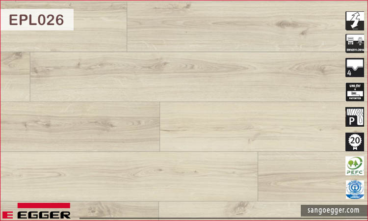 Sàn gỗ Egger EPL026 10mm Natural Canton Oak