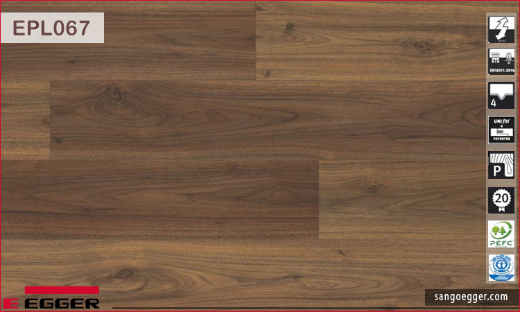 Sàn gỗ Egger Pro Aqua Plus EPL067 Dark Langley Walnut