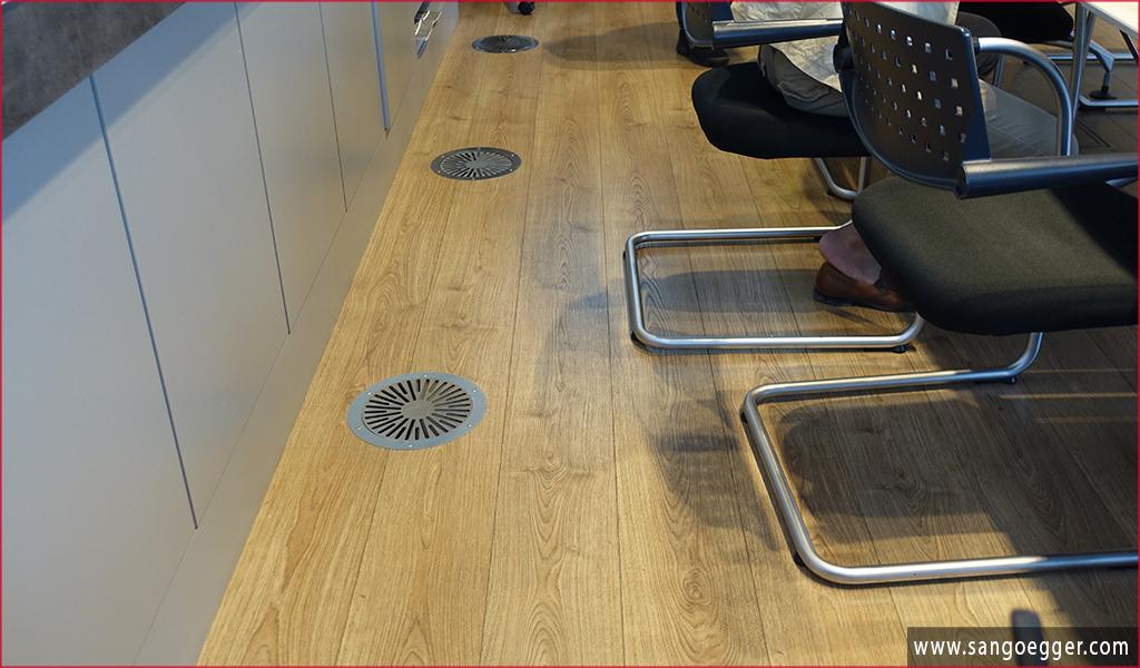 Sàn gỗ Egger tại một văn phòng nước Đức có lắp máy sưởi dưới sàn