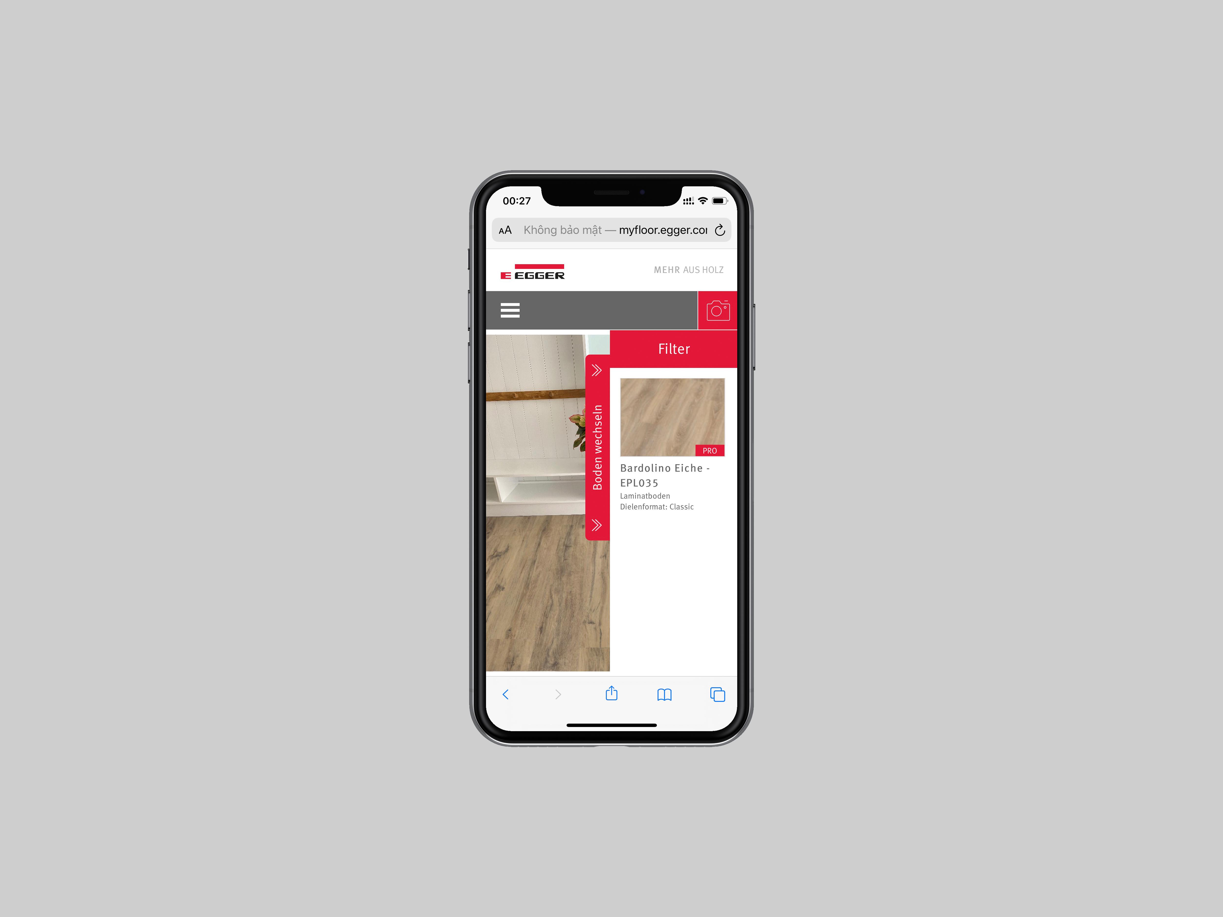 Tìm kiếm mẫu thiết kế Egger ứng dụng thực tế ảo