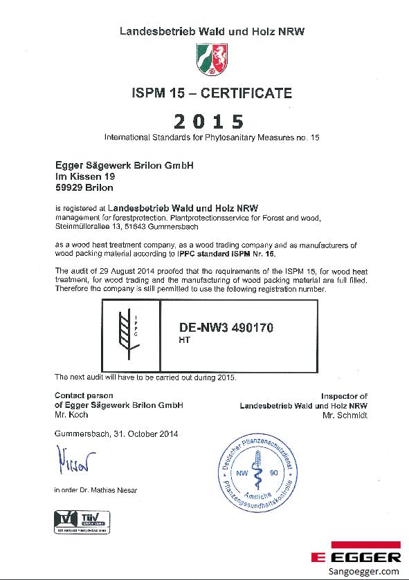 Chứng chỉ ISPM 15 Egger