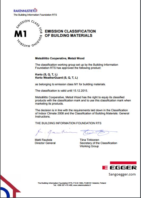 Chứng chỉ sàn gỗ Egger sản phẩm sản xuất tại Châu Âu