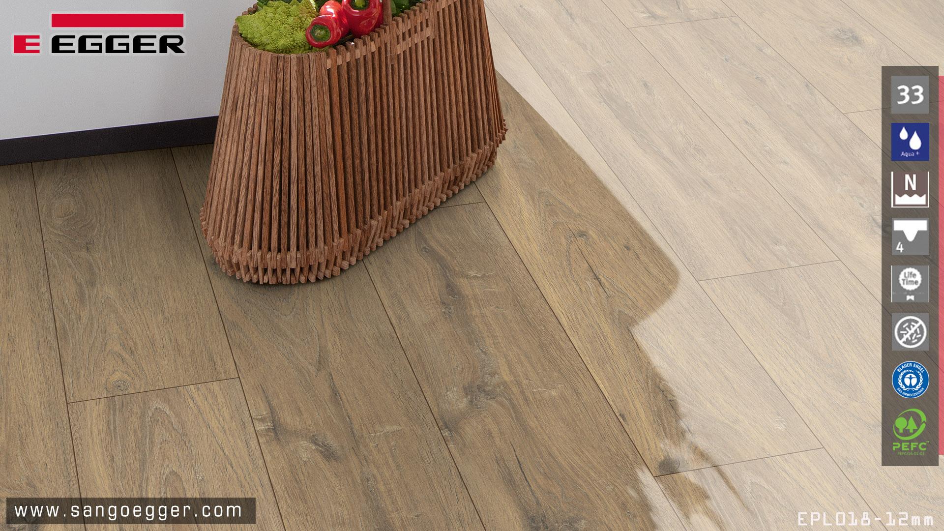 Sàn gỗ chịu nước chuyên dụng cho nhà bếp EPL018 Aqua bản 12mm