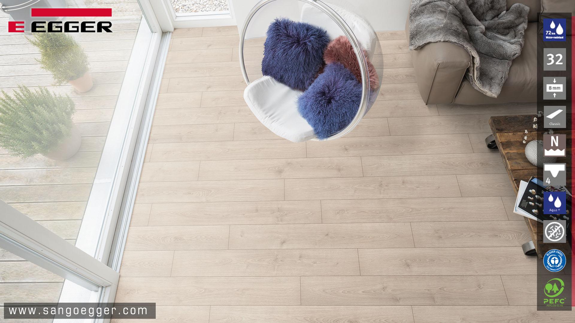 Không gian sống tuyệt vời hơn với sàn gỗ Egger cao cấp EPL080 Aqua +