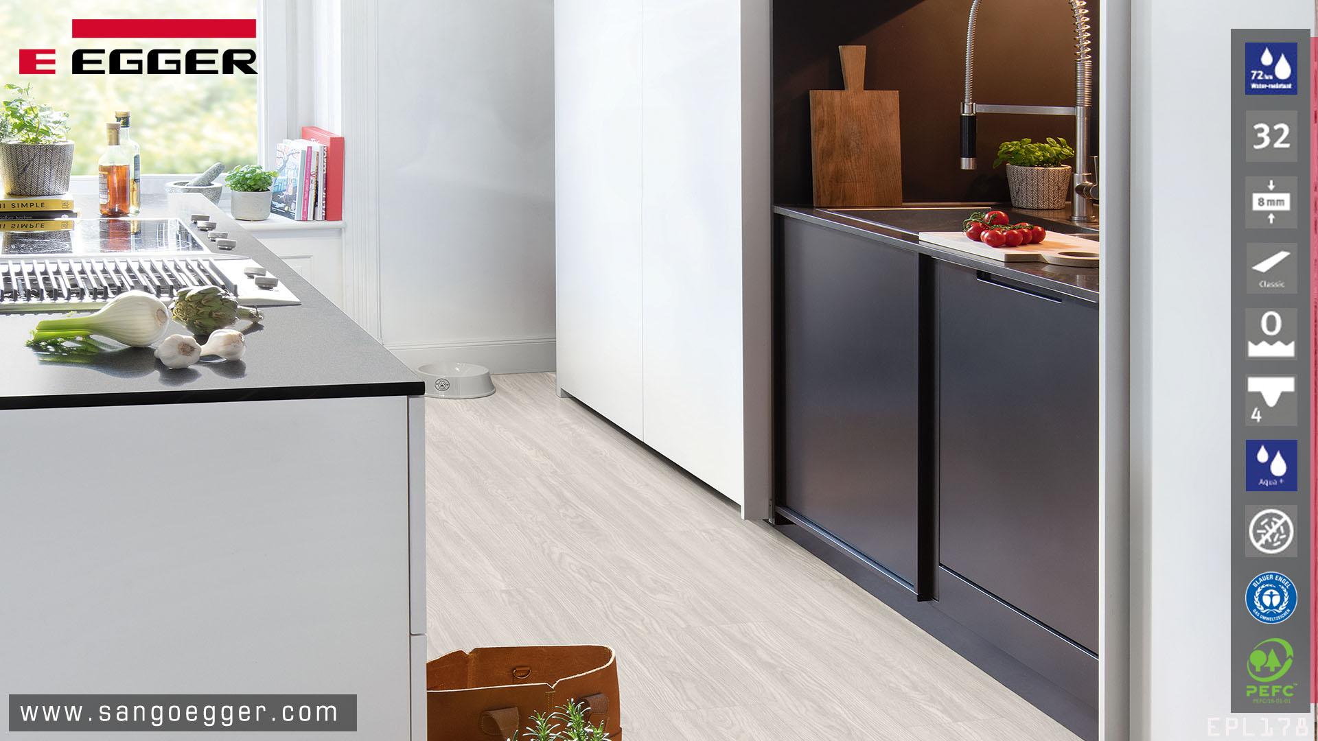Sàn gỗ Egger EPL178 Aqua siêu chịu nước, sàn gỗ chuyên dụng phòng bếp