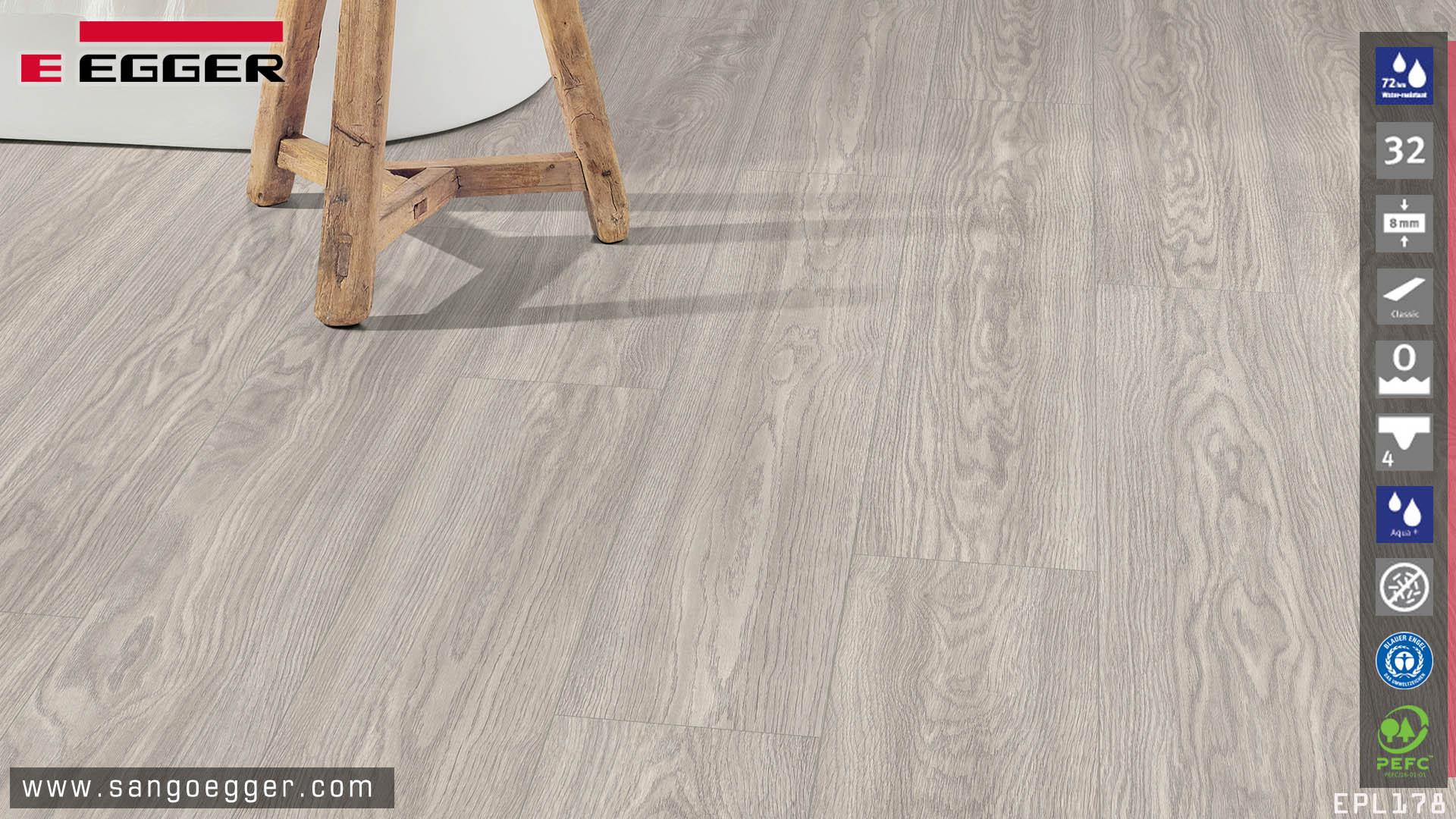 Sàn gỗ Egger Aqua EPL178 tone màu Sồi xám