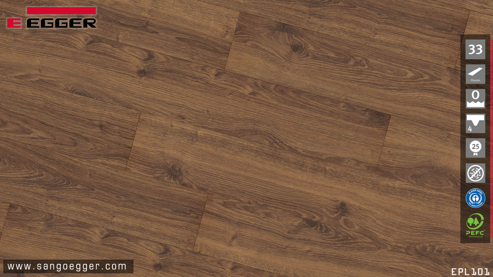Sàn gỗ Egger Pro Aqua EPL101 12mm - bề mặt vân